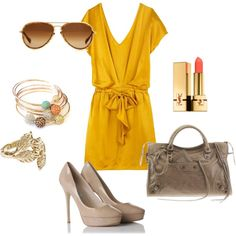 this mustard color is growing on me, it looks great for this dress and Rockabella Jewels pave bangles add the perfect amount of complimenting color.