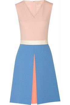 Roksanda Color-block crepe dress | THE OUTNET  Pastel-pink, cornflower-blue and neon-coral crepe Concealed hook and zip fastening at back 100% wool; lining: 100% silk