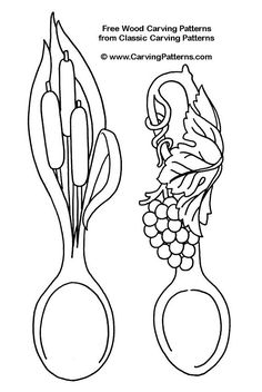 cat tail spoon, grape spoon - free wood carving patterns