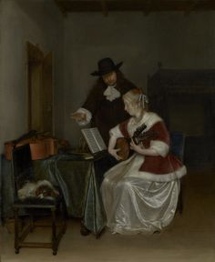 """LEARN TO PLAY AN INSTRUMENT. Gerard ter Borch, """"The Music Lesson,"""" about 1668."""