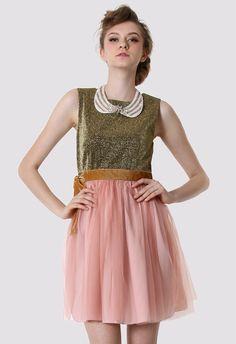 #Chicwish Metallic Top Peach Tulle Dress