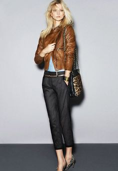blue anthro pants & leather jacket w/leopard heels