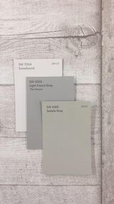 SW7004 Snowbound | SW0055 Light French Gray | SW6169 Sedate Gray  I like this for interior Farmhouse Paint Colors, Exterior Paint Colors, Rustic Paint Colors, Gray Exterior, Interior Colors, Paint Colours, Paint Colors For Home, Interior Paint, Room Colors