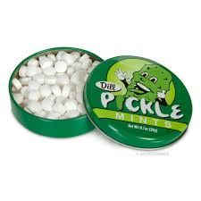 """Whats the big dill? Pickle mints of course! Each 2 1/4"""" round tin contains roughly 100 dill pickle flavored mints."""