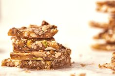 This Nut & Seed Brittle is filled with almonds, pecans, pistachios, pumpkin seeds, sesame seeds and sunflower seeds. It makes a sticky, crunchy treat.