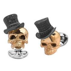 Deakin & Francis Black Spinel Gold Skull and Top Hat Cufflinks   From a unique collection of vintage cufflinks at https://www.1stdibs.com/jewelry/cufflinks/cufflinks/