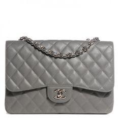 141bf60edfa1 CHANEL Caviar Quilted Jumbo Single Flap Grey