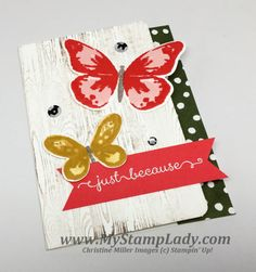 unique card shape watercolor wings stampin' Up! butterlies