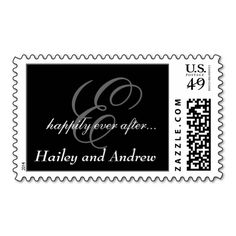 Black White Monogram Names Wedding Postage Stamps. This is customizable to put a personal touch on your mail. Add your photos or text to design your own stamp that can be sent through standard U.S. Mail. Just click the image to try it out!