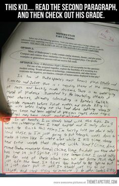 A Graded Paper With A Funny Response funny lol humor funny pictures funny photos funny images hilarious pictures Funny Cute, The Funny, Funny Work, That's Hilarious, Super Funny, 38 Super, Crazy Funny, Funny Happy, Funny Pins