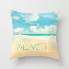 Beach pillow18x18 or 22x22 velveteen cover by VintageChicImages, $40.00 #pillow #beach #ocean #hawaii #typography #aqua #homedecor
