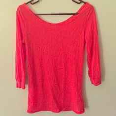 Sheer pink quarter sleeve! Sheer top, place over a simple tank top or be daring and just wear over a bra top! Stretchy and comfortable! Forever 21 Tops Blouses