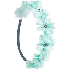 Rhinestone Center Flower Crown ($6.90) ❤ liked on Polyvore featuring accessories, hair accessories, hair, headbands, flower crowns, mint, braided headband, flower garland, bohemian headband and flower hair accessories