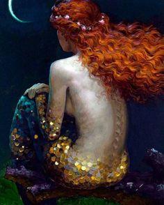Rich with emotion, the masterful work of Victor Nizovtsev is sublime! Gustav Klimt, Fantasy Mermaids, Mermaids And Mermen, Real Mermaids, Victor Nizovtsev, Mermaid Art, Mermaid Paintings, Tattoo Mermaid, Vintage Mermaid