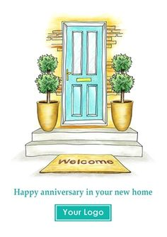Greetings card for Estate Agents to send to clients on the anniversary of their move. Reference number: RNH04