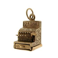 Vintage Cash Register 14k Gold Charm