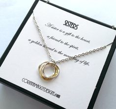 3 Sisters Necklace Gift, Love, Inspirational Jewelry Silver, Gold, Gift Set, Wedding, Birthday