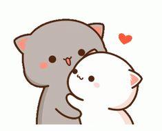 Cute Anime Cat, Cute Bunny Cartoon, Cute Kawaii Animals, Cute Cartoon Pictures, Cute Love Pictures, Cute Love Cartoons, Cute Cat Gif, Cute Cats, Kawaii Cat