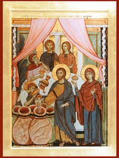 Wedding at Cana in Galilee Religious Images, Religious Icons, Religious Art, Byzantine Art, Byzantine Icons, Monastery Icons, Prayer Images, Religious Paintings, Best Icons