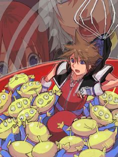 Kingdom Hearts & Toy Story. I think this is really cute. The claw!!! Lol and you can see Riku and Kairi trying to get Sora out of there.