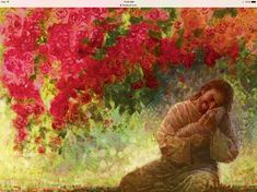 painting of jesus christ holding a lamb in a field of red flowers and red leaves on trees Pictures Of Jesus Christ, Christian Artwork, Lds Art, Jesus Painting, Jesus Art, Prophetic Art, Biblical Art, The Good Shepherd, Jesus Is Lord