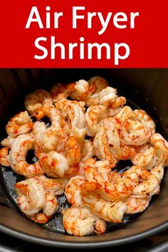 This air fryer frozen shrimp recipe is amazing! Works with frozen raw or cooked shrimp! No thawing shrimp needed, cook the shrimp straight from frozen in your air fryer! #airfryer