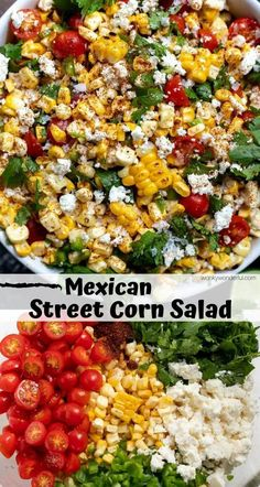 This Mexican Street Corn Salad Recipe is a lighter version of traditional street corn. With roasted corn, fresh tomatoes, cilantro, jalapeño and quest fresco this makes a fantastic side dish for potlucks, parties and barbecues. Taco Side Dishes, Mexican Side Dishes, Vegetarian Side Dishes, Side Dish Recipes, Side Dish For Tacos, Easy Potluck Side Dishes, Mexican Potluck, Mexican Dinner Party, Side Dish Salad