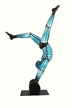 """""""Turquoise Handstand"""" by David Bennett of Bennett Glass Art - amazing blown glass sculptures."""