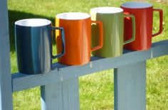 Vintage Melaware Mugs - The Picnic Patch. Great colours for a cuppa in the garden or at the beach.