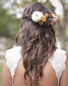 Brides hair with flowers