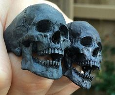 Instantly give any outfit a macabre accent by putting on one of these hand carved skull rings. They are available in one of three distinguished finishes and are meticulously hand carved to reflect amazing detail and realism. Skull Jewelry, Skull Rings, Gothic Jewelry, Jewelry Art, Jewellery, Jewelry Gifts, Skull Reference, Skull Engagement Ring, Star Wars Wedding