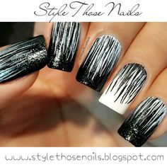 Style Those Nails: 40 Great Nail Ideas- Black and White Waterfall Nails : Video Tutorial