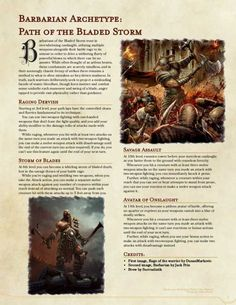 Barbarian Subclass: Path of the Bladed Storm, UA Draft Dungeons And Dragons Rules, Dungeons And Dragons Classes, Dnd Dragons, Dungeons And Dragons Homebrew, Dungeons And Dragons Characters, Dnd Characters, Barbarian Dnd, Dnd Classes, Dungeon Master's Guide
