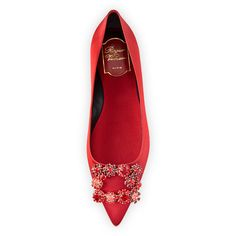 Roger Vivier Floral Strass Buckle Ballerina Flat ($1,865) ❤ liked on Polyvore featuring shoes, flats, red pointy toe flats, pointed toe ballet flats, pointy-toe flats, floral flats and red ballet flats