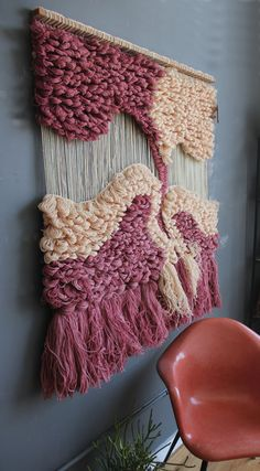 Incroyable grande fibre Textile Art mur par GallivantingGirls