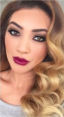 Beautiful makeup done by https://instagram.com/makeupby_melissasassine/  Hair by https://instagram.com/natalieannehair/ Love the Burgundy Lips, strong brow and dark eyeliner. Curly ombre hair looks great with this makeup look.
