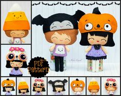 PDF Pattern. Halloween dolls with hats: Mexican skull, vintage pumpkin, candy corn and bat hats.