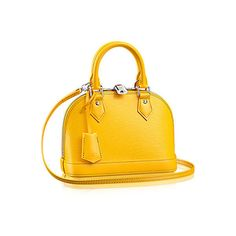 Alma BB Epi Leather ($1,440) ❤ liked on Polyvore featuring bags, handbags, shoulder bags, yellow tote, leather tote bags, shoulder bag tote, genuine leather tote and leather tote purse