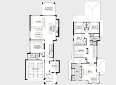 Plano de casa de dos pisos pequeña