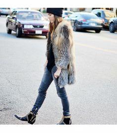@Alexandra M What Wear - Styleheroine is wearing: Balmain jeans, Isabel Marant coat.  Get The Look:  Unreal Fur Stripe Short Jacket ($217)  See more ways to wear faux fur coats on Pose.com.