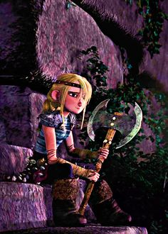 Astrid while the other teens were teasing Hiccup at the beginning of HTTYD. She looks sad.
