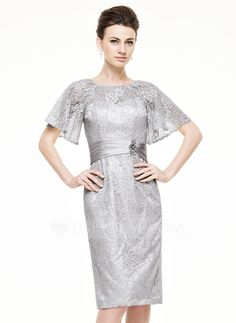 Sheath/Column Scoop Neck Knee-Length Lace Mother of the Bride Dress With Ruffle Beading Sequins (008062528)