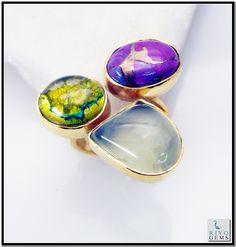 Multi Tiger Eye Gems Stones 18 Kt Y.G. Plated Mood Ring Sz 9 Gprmul9-5331 http://www.riyogems.com