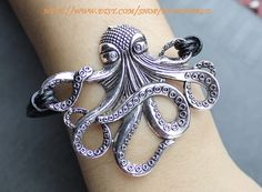 octopus bracelet  charm bracelet  black leather by handworld, $3.99