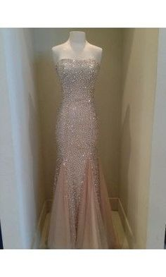 This dress, prom or formal events. Blush/dusty rose/ light pink long sequined dress.