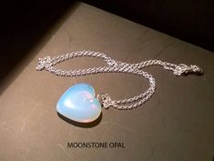 HANDMADE PENDANT HEART Moonstone Opal or Strawberry Rose Quartz with Silver 925 Chain, Gemstones Heart Necklace, Love Pendant, Healing Jewel by CrystalPepper on Etsy Handmade Rings, Handmade Necklaces, Handmade Jewelry, Strawberry Roses, Heart Shapes, Opal, Quartz, Pendant Necklace, Chain