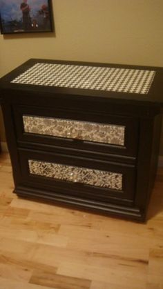 update old furniture with scrapbook paper and modge podge