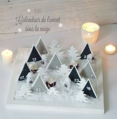 Diy : Calendrier de l'avent sous la neige - Black Confetti Discover a DIY advent calendar. It does not hang on the wall but poses as a Christmas decoration. The chocolates are buried under the snow . day gifts for him diy Noel Christmas, Handmade Christmas, Christmas Crafts, Christmas Decorations, Xmas, Advent Calendar 2015, Noel Gifts, Advent Calenders, Diy Weihnachten