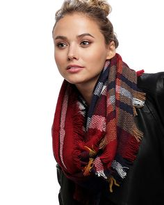 Red / 100% Acrylic / Check Pattern Infinity Scarf