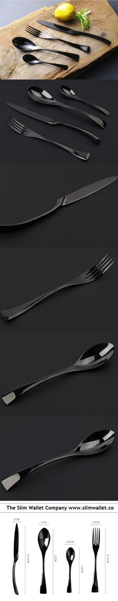 Made out of durable stainless steel Hand forged to ensure quality design and integrity Easy to clean PACKAGE INCLUDES: 1 X Fork 1 X Knife 1 X Coffee Spoon 1 Kitchen Cutlery, Kitchen Dinning, Kitchen Items, Kitchen Decor, Dining, Black Cutlery, Cutlery Set, Black Kitchens, Cool Kitchens